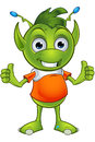 Pointy eared alien character a cartoon illustration of a cute little green with ears Royalty Free Stock Image