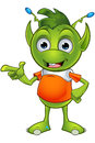 Pointy eared alien character a cartoon illustration of a cute little green with ears Royalty Free Stock Photos