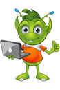Pointy eared alien character a cartoon illustration of a cute little green with ears Stock Image