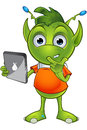Pointy eared alien character a cartoon illustration of a cute little green with ears Stock Photos