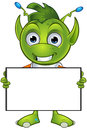 Pointy eared alien character a cartoon illustration of a cute little green with ears Stock Images