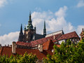 Pointy towers of st vitus cathedral on prague castle Stock Photography