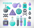 Poison flat icon set