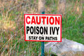 Poison Ivy warning sign Royalty Free Stock Photo