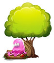 A poisoned monster sitting above the log under the tree illustration of on white background Royalty Free Stock Photography