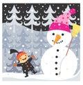 Pojke och snowman Arkivfoto