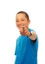 Pojke som pekar med hans finger Royaltyfria Foton