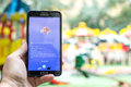Pokemon go gameplay screenshot on the phone aug moscow russia goldeen mobile screen is a modern Royalty Free Stock Photography