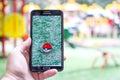 Pokemon Go gameplay screenshot on the phone. Royalty Free Stock Photo