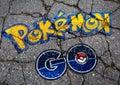 Pokemon GO logo in graffiti style on concrete Royalty Free Stock Photo