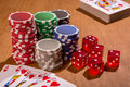 Poker accessories a set of different chips cards and dices Royalty Free Stock Photography