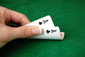 Poker aces hand with two also known as bullets Stock Photography