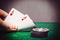Poker aces pair on the play table Royalty Free Stock Image