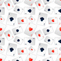 Poker aces on white, seamless pattern Royalty Free Stock Photo