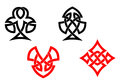 Poker card symbols in celtic style Royalty Free Stock Images