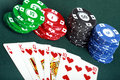 Poker cards and chips closeup Royalty Free Stock Photos