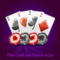 Poker Cards and Chips in vector. Royalty Free Stock Photo