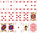 Poker cards diamond set four color classic design Royalty Free Stock Photo