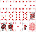 Poker cards diamond set two color classic design Royalty Free Stock Photo