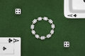 Poker cards, dice and ashtray Royalty Free Stock Photo