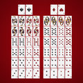 Poker cards full set four color classic design on a red background