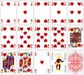 Poker cards heart set four color classic design