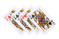Poker cards queens four on white background Royalty Free Stock Image