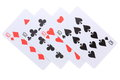 Poker cards ten four on white background Stock Image