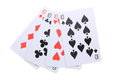 Poker cards ten four on white background Stock Photography