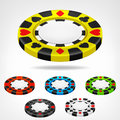 Poker Chip Isometric Color Set...