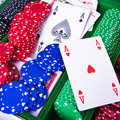 Poker chips with ace Royalty Free Stock Photography