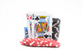 Poker chips with cards Royalty Free Stock Photo