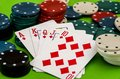 Poker chips and cards on the table Royalty Free Stock Photo