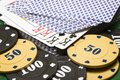 Poker chips and deck of cards closeup Royalty Free Stock Photo
