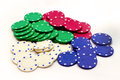 Poker chips image of on white background Royalty Free Stock Photo