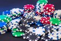 Poker chips isolated on black background Royalty Free Stock Photo