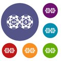 Poker chips nominal five and ten icons set