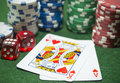 Poker chips Playing cards Dice Royalty Free Stock Photo