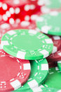 Poker chips and red casino dice close up of symbols for betting winning at Stock Photo