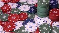 Poker chips on rotating surface