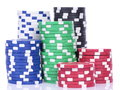 Poker chips sorted and stacked Royalty Free Stock Image
