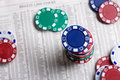 Poker Chips and Stocks Chart Royalty Free Stock Photo