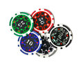 Poker chips top view of on white background Royalty Free Stock Photos