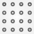 Poker chips vector black icons set Royalty Free Stock Photo