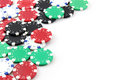 Poker chips on white background Royalty Free Stock Photo