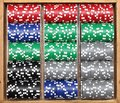 Poker chips in wooden box Stock Image