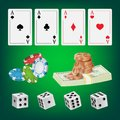 Poker Design Elements Vector. Chips, Money Stacks, Playing Gambling Cards. Royal Fortune Club Concept. Illustration Royalty Free Stock Photo