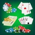 Poker Design Elements Vector. Money Stacks, Chips, Playing Gambling Cards. Royal Casino Retro Poker Club Illustration Royalty Free Stock Photo