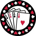 Poker emblem with four aces playing cards suits Royalty Free Stock Photo