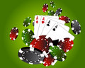 Poker gambling cards and coin chips Stock Photo